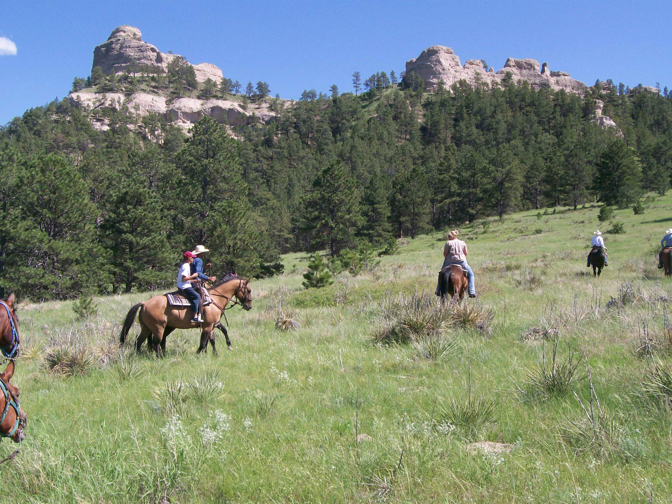 Horseback riding along the Ponderosa Pine Ridge. Crown butte makes an impressive backdrop for the riders.