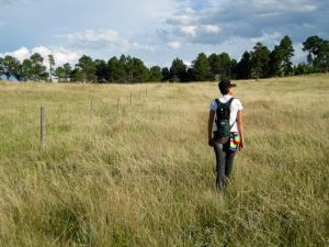 Hiker trecking across the Pine Ridge to find the perfect spot for the 2017 Total Solar Eclipse